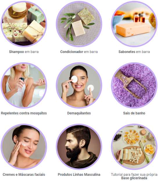 Cosméticos Artesanais shampoo condicionador sabonetes repelentes demaquilantes sais cremes